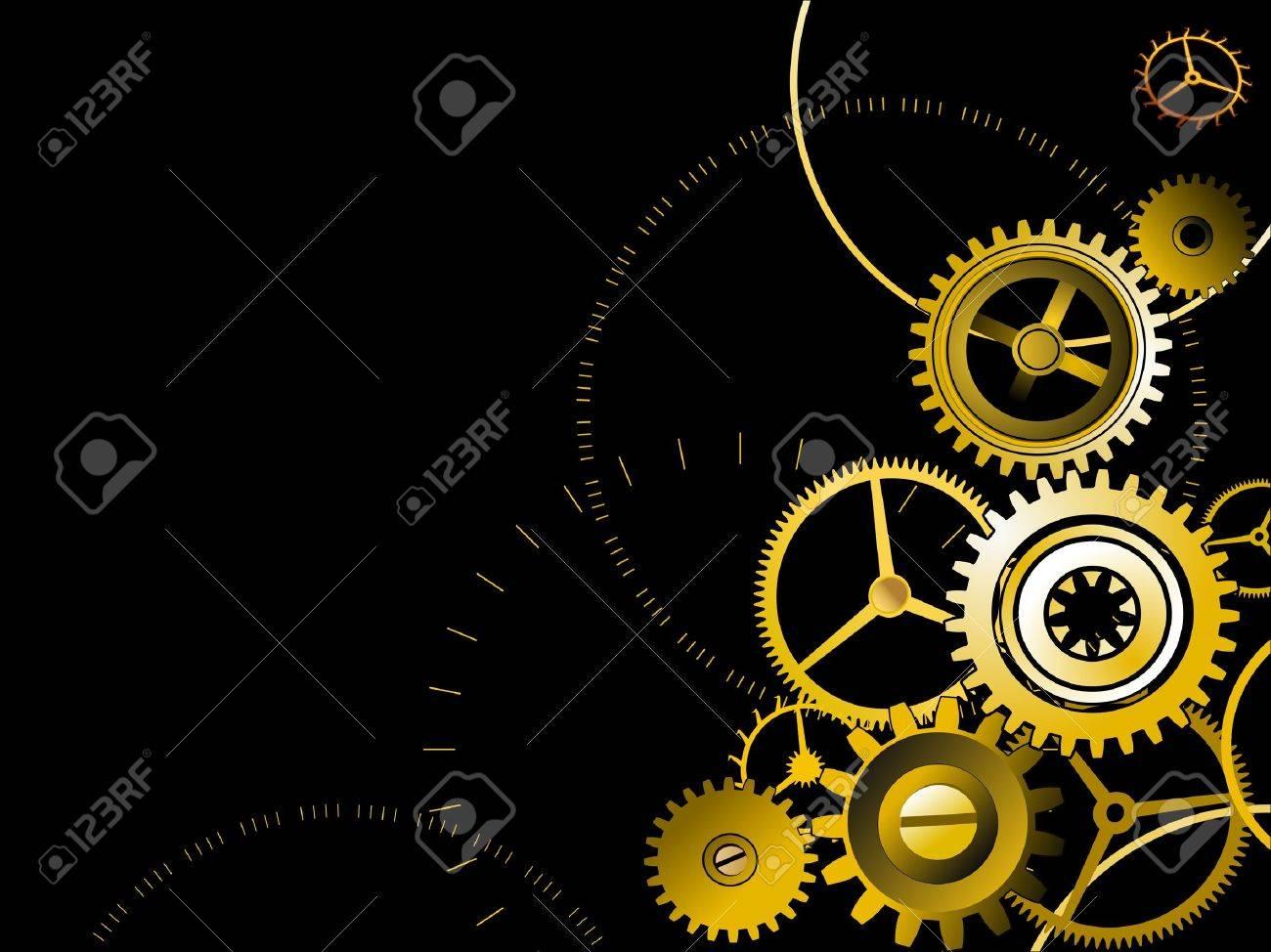 Golden gears background Stock Vector - 5037560