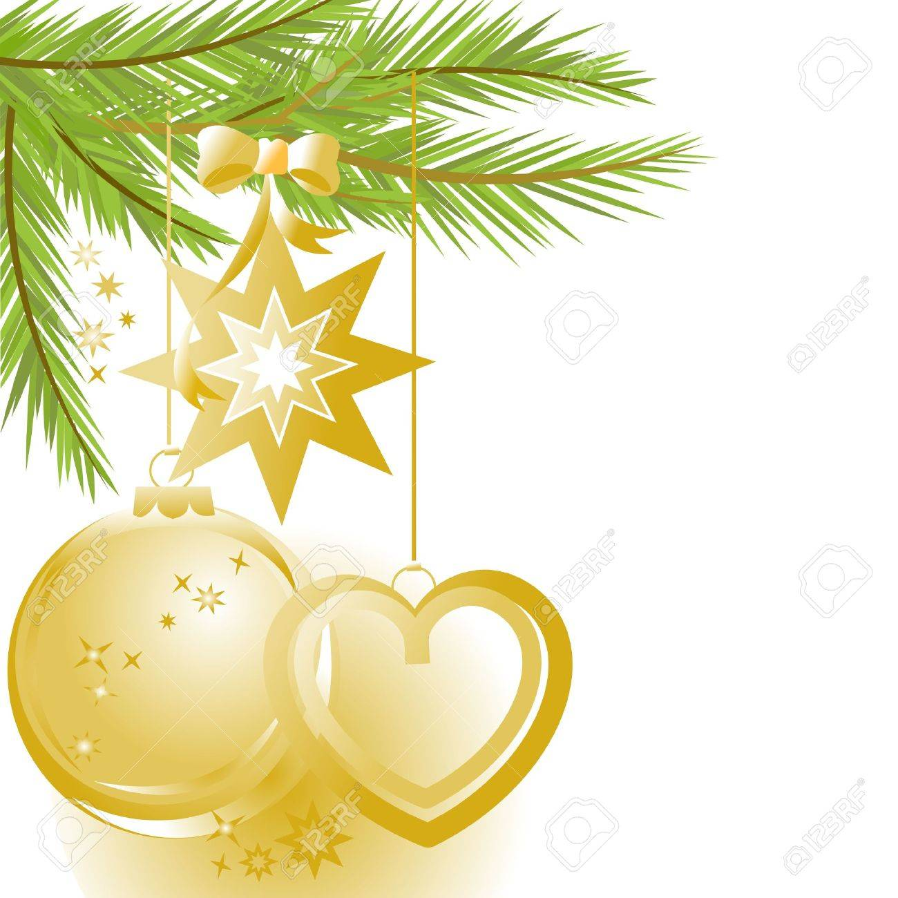 Golden Christmas Ornaments And Pine Tree Stock Vector  5972725
