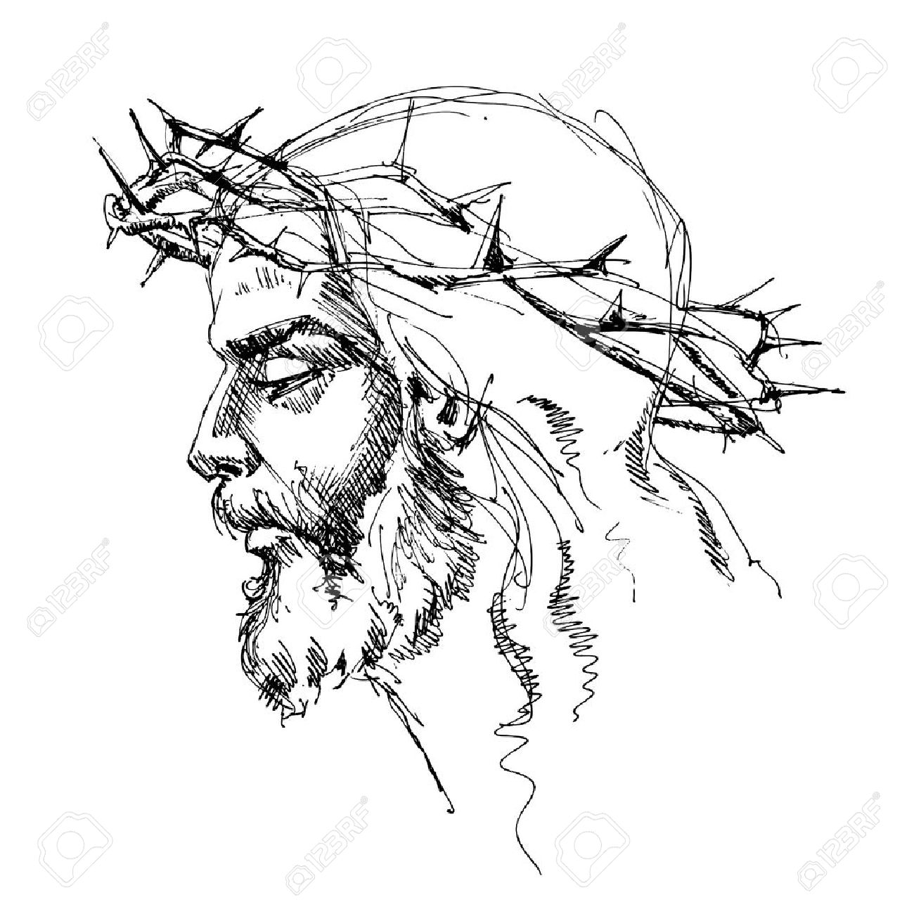 Jesus Christ with crown of thorns Stock Vector - 6564732