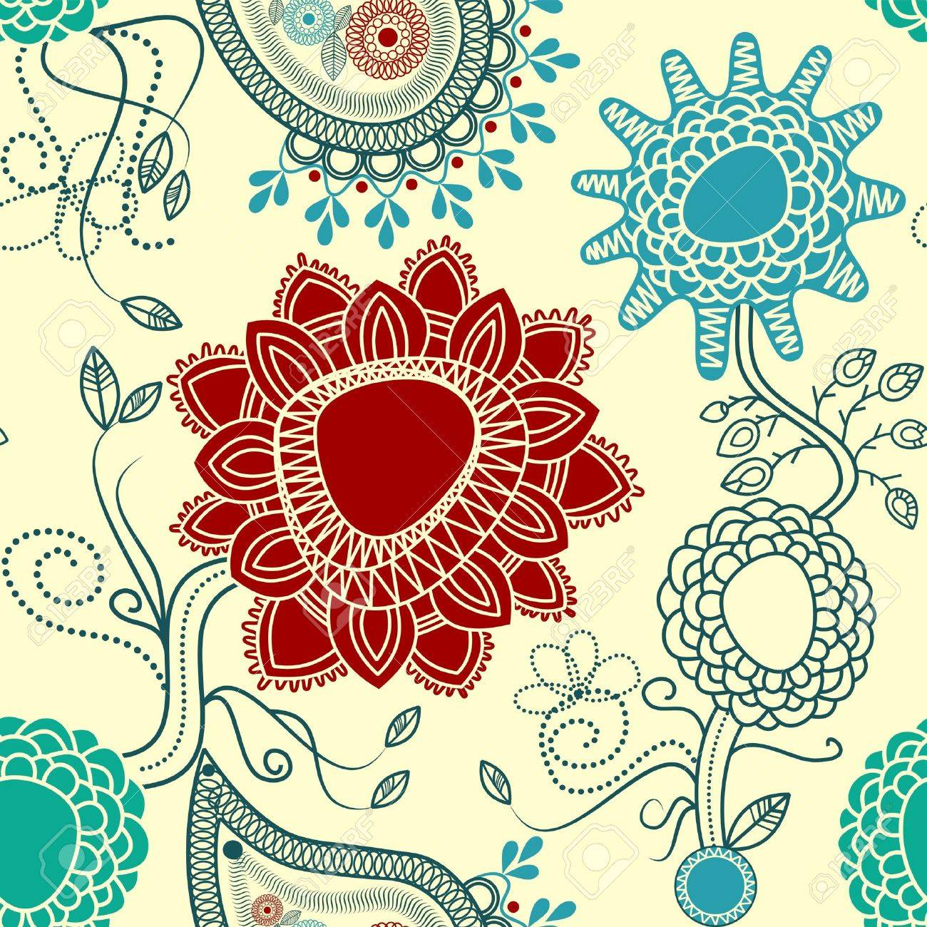 Floral seamless pattern with paisley Stock Vector - 7508203