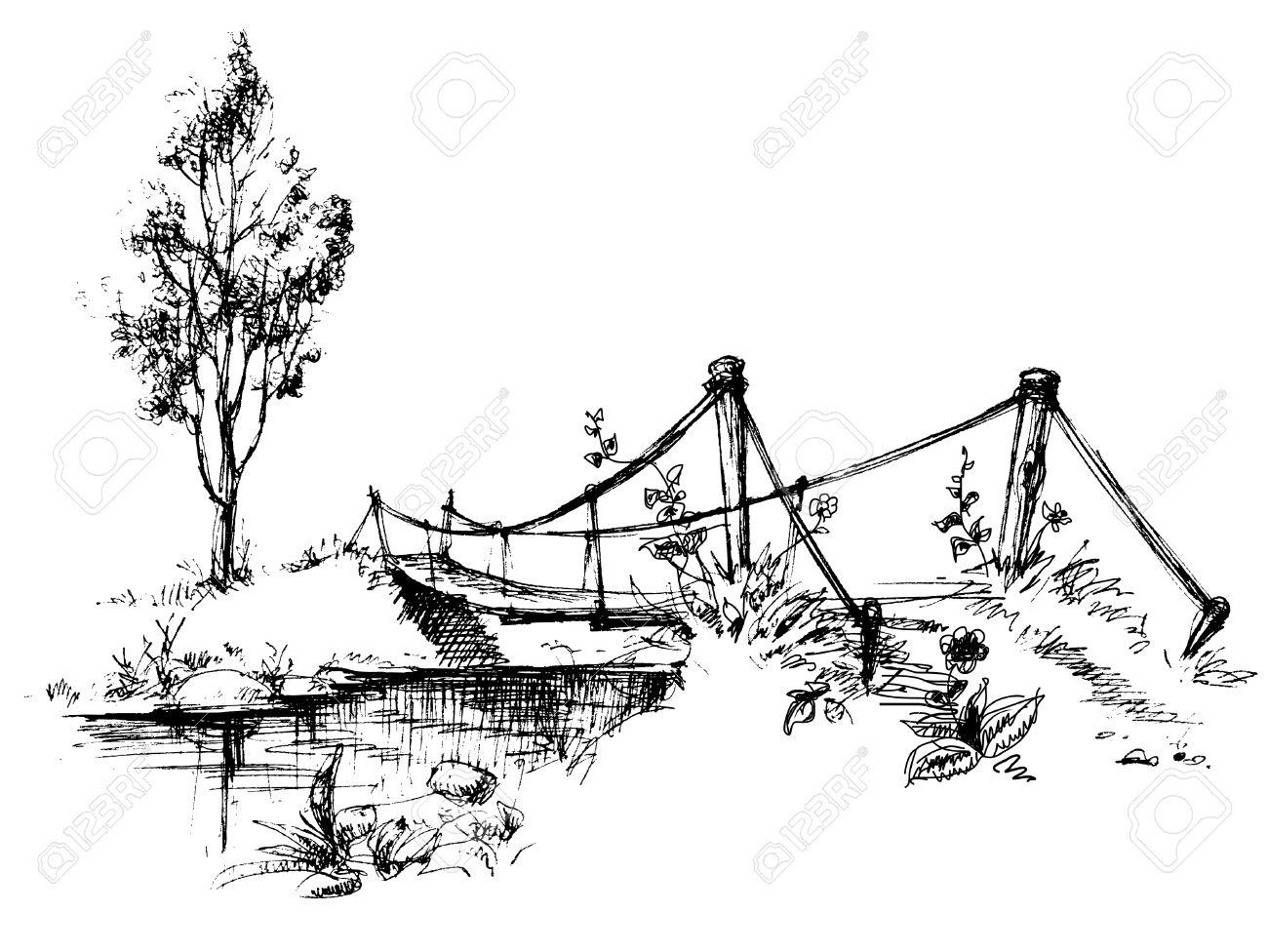 Landscape with suspended bridge over river sketch - 7700350
