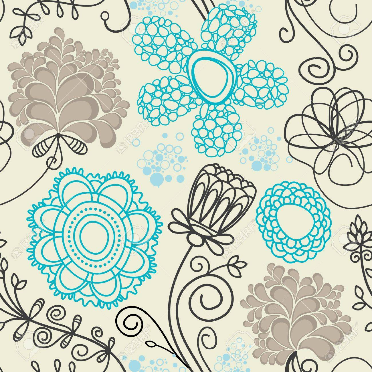 Floral seamless background in retro colors Stock Vector - 7793758