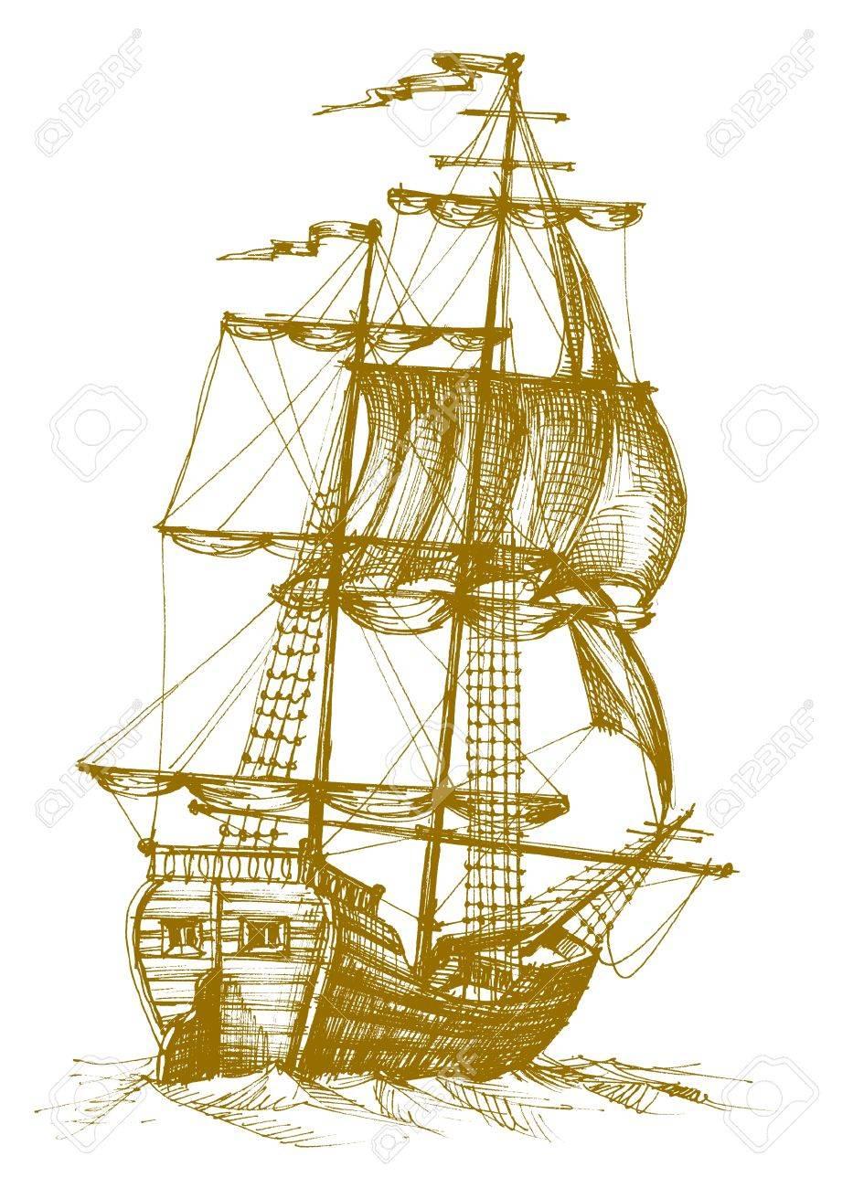 Vintage sailboat Stock Vector - 7964054