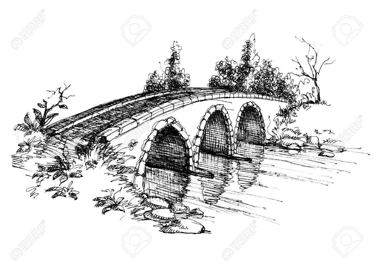 Stone bridge over river sketch 2 - 8023051