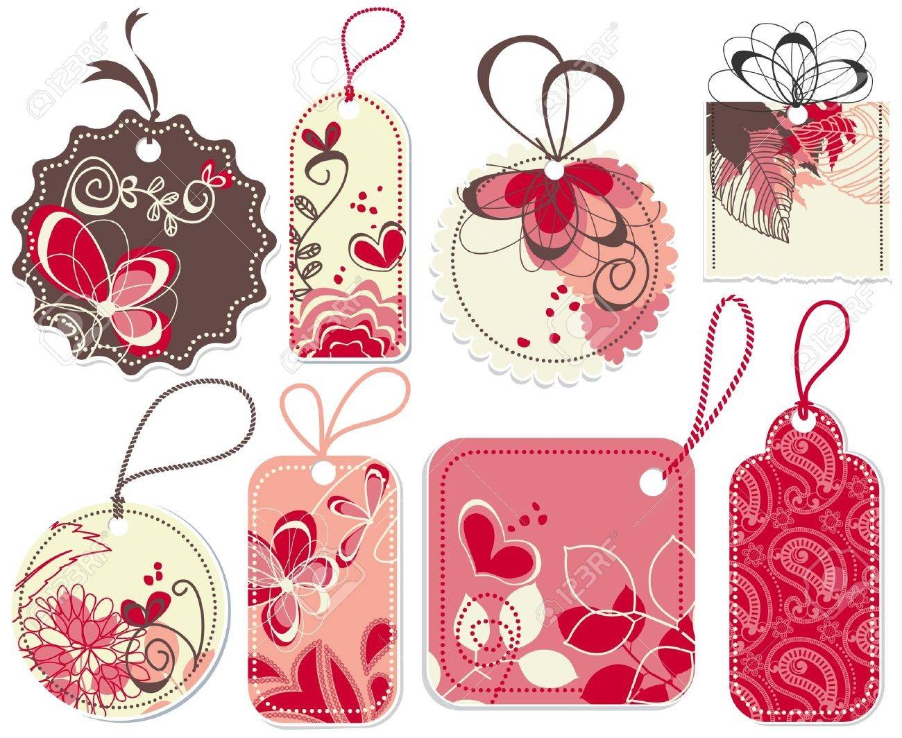 cute price tags collection flowers and hearts ornaments royalty