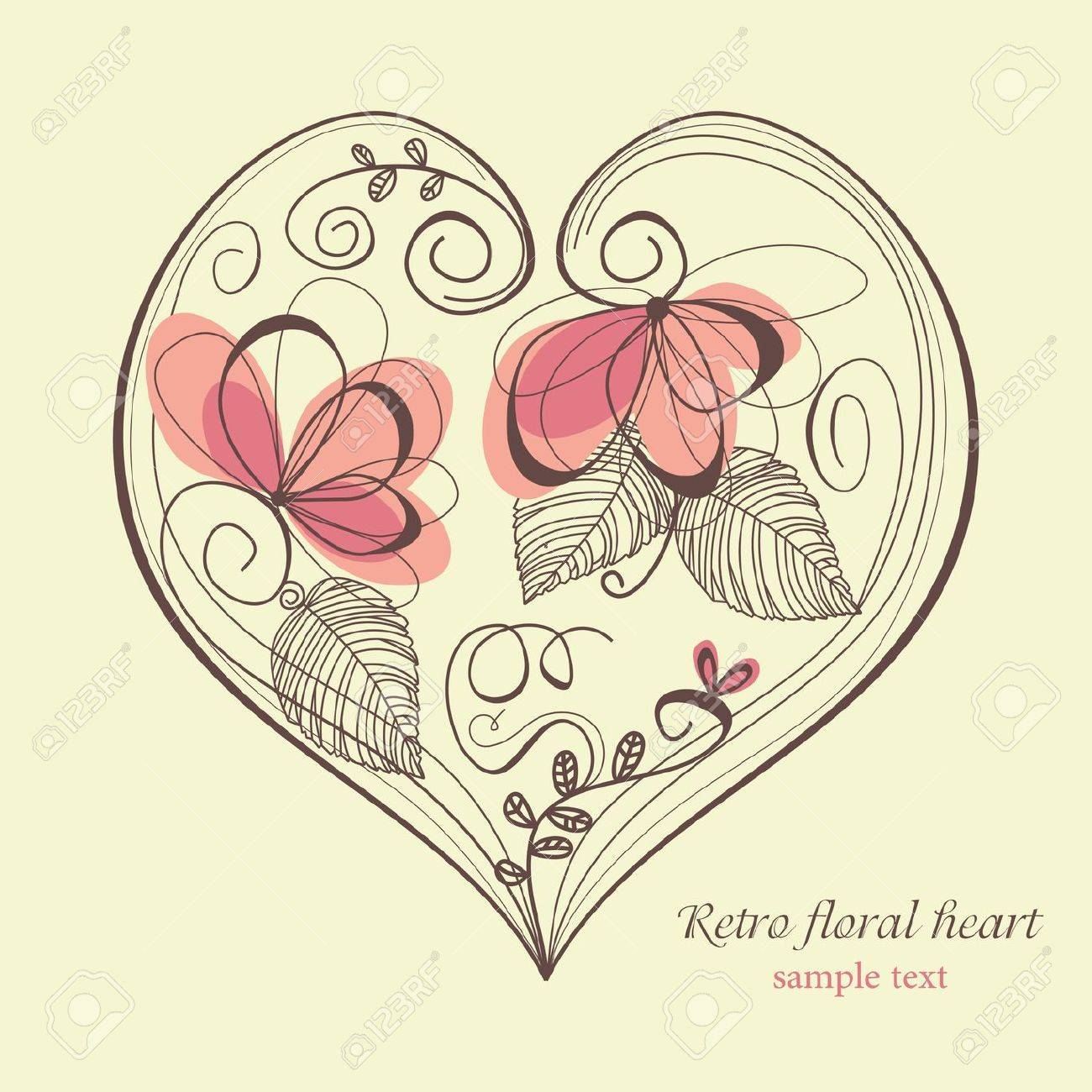 Retro floral heart Stock Vector - 8084998