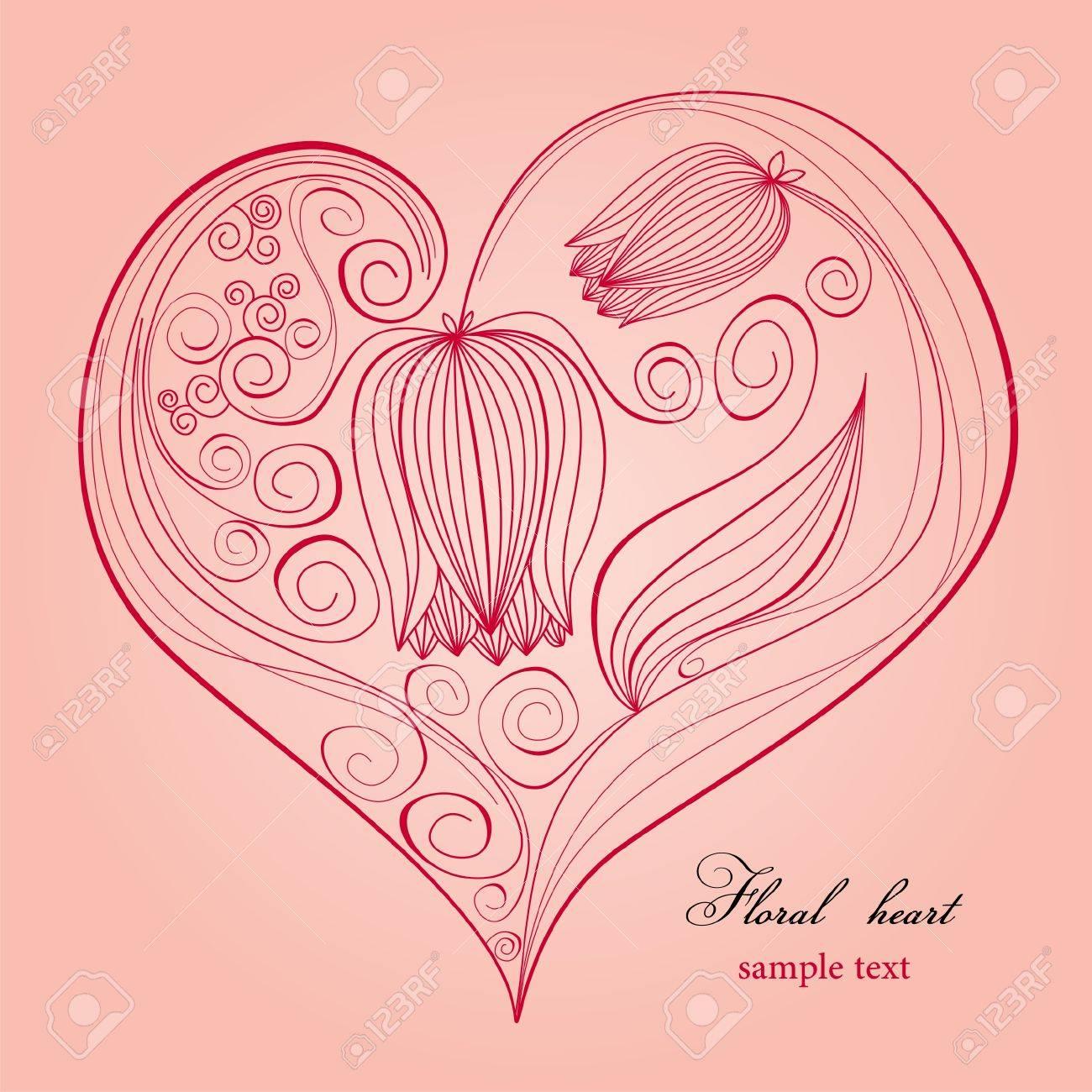 Floral heart Stock Vector - 8084997