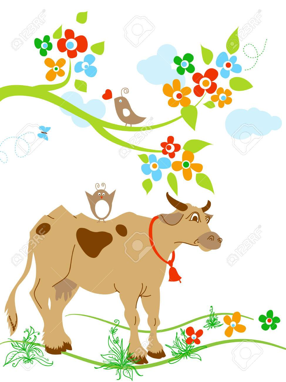 cute cow and birds in springtime royalty free cliparts vectors