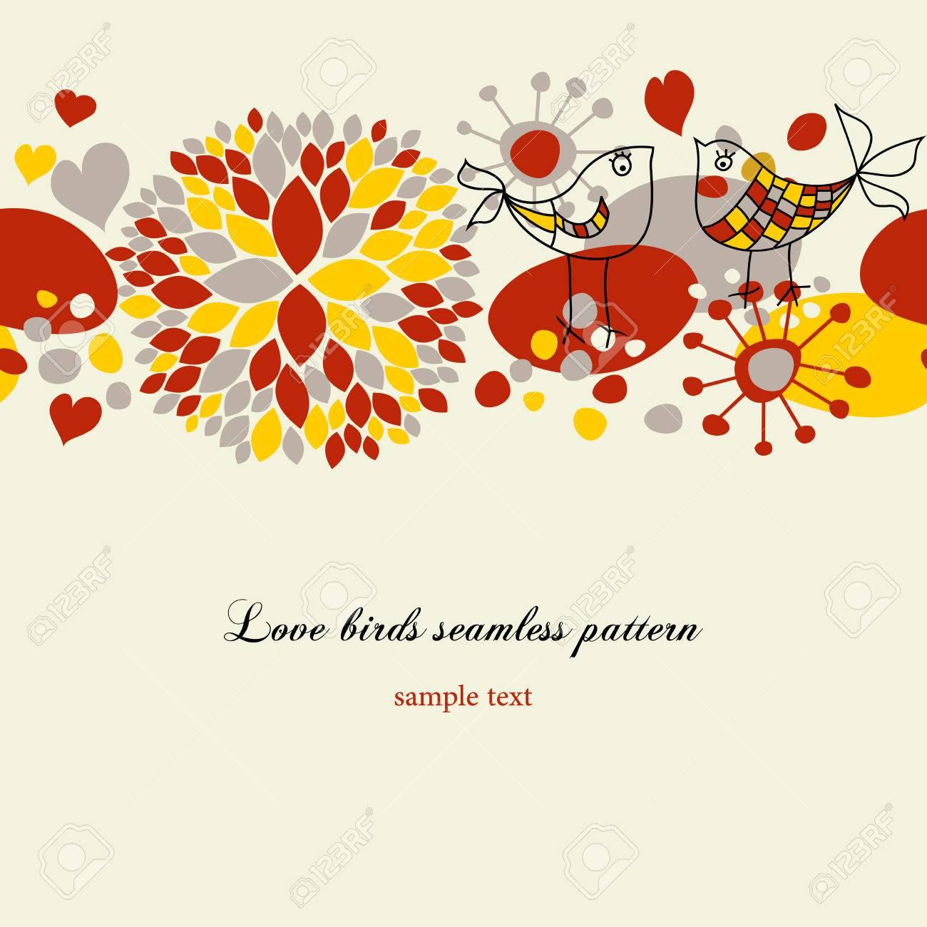 Love birds seamless pattern Stock Vector - 8858463