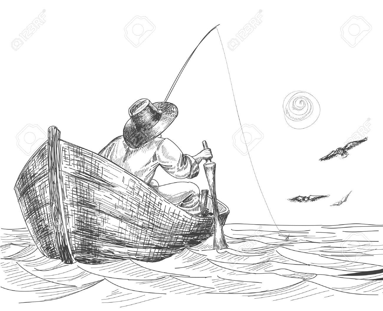 Fisherman drawing Stock Vector - 8858488