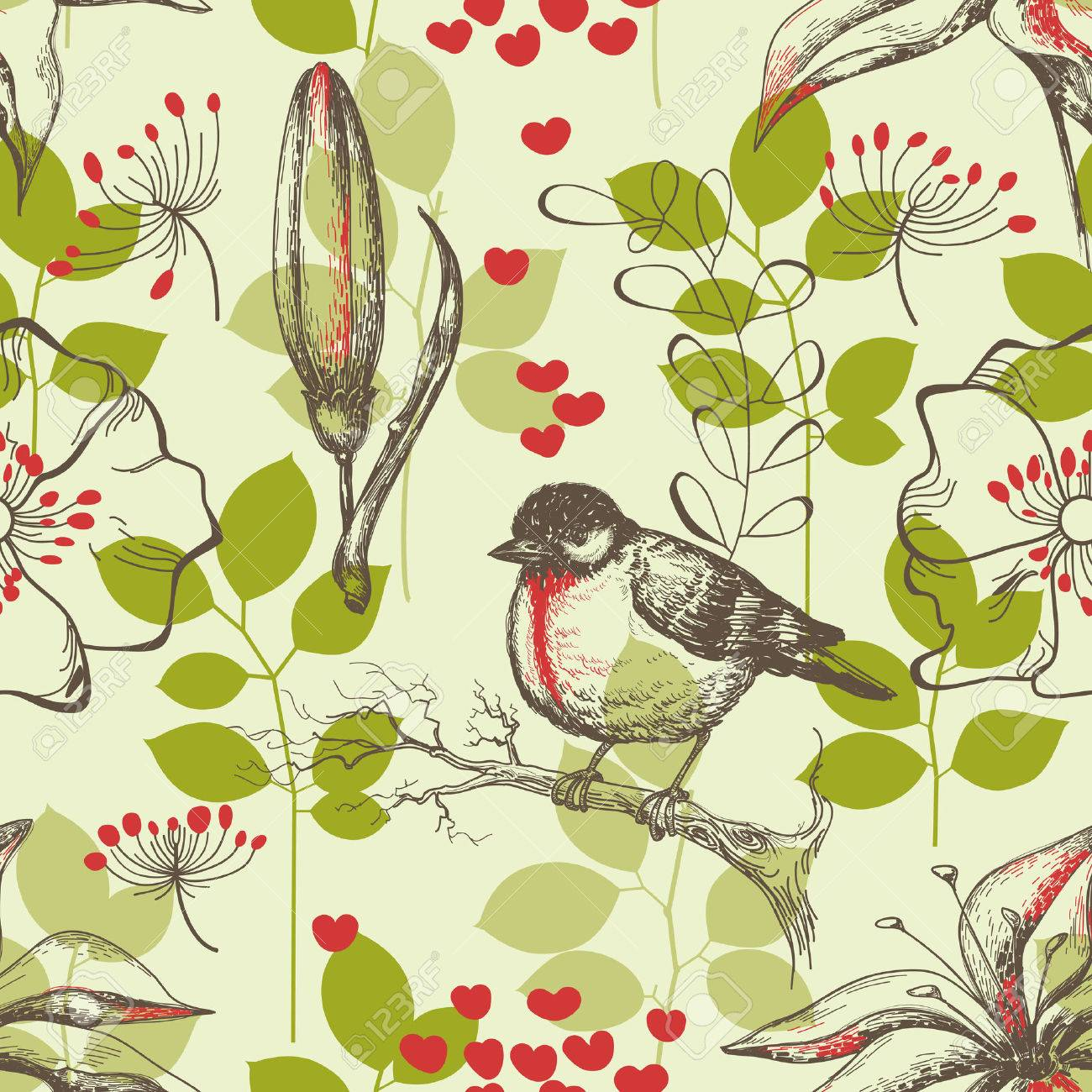Bird and lilies seamless pattern Stock Vector - 8985618