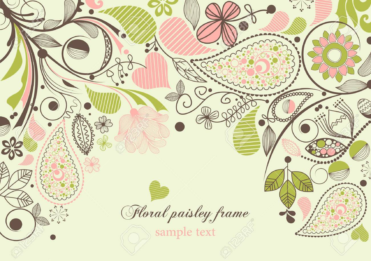 Floral paisley frame Stock Vector - 9056330