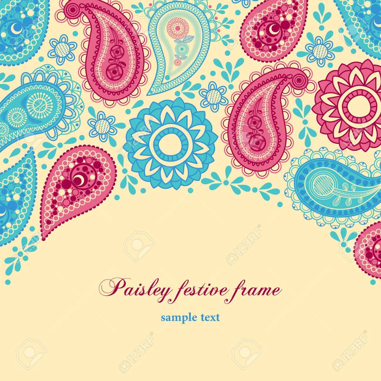 Paisley festive frame Stock Vector - 9056349