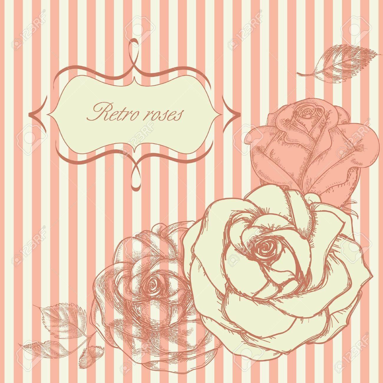Retro roses corner Stock Vector - 9261951