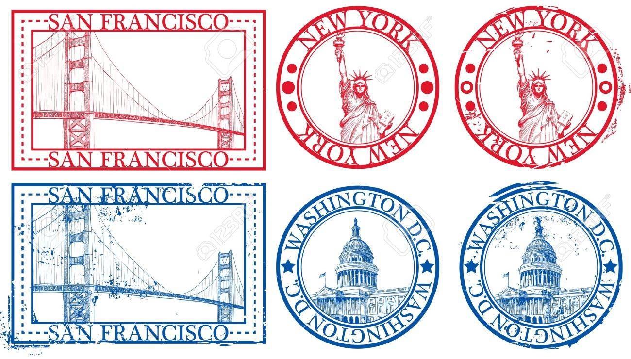 Usa Famous Cities Stamps With Symbols New York Statue Of Liberty