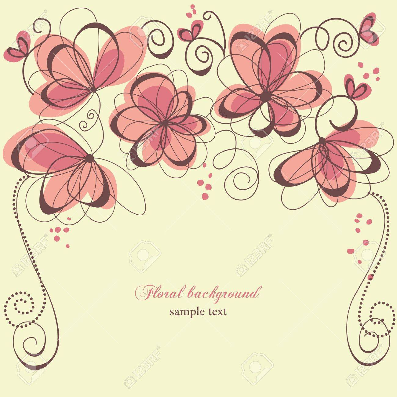 Romantic invitation floral panel Stock Vector - 9388006