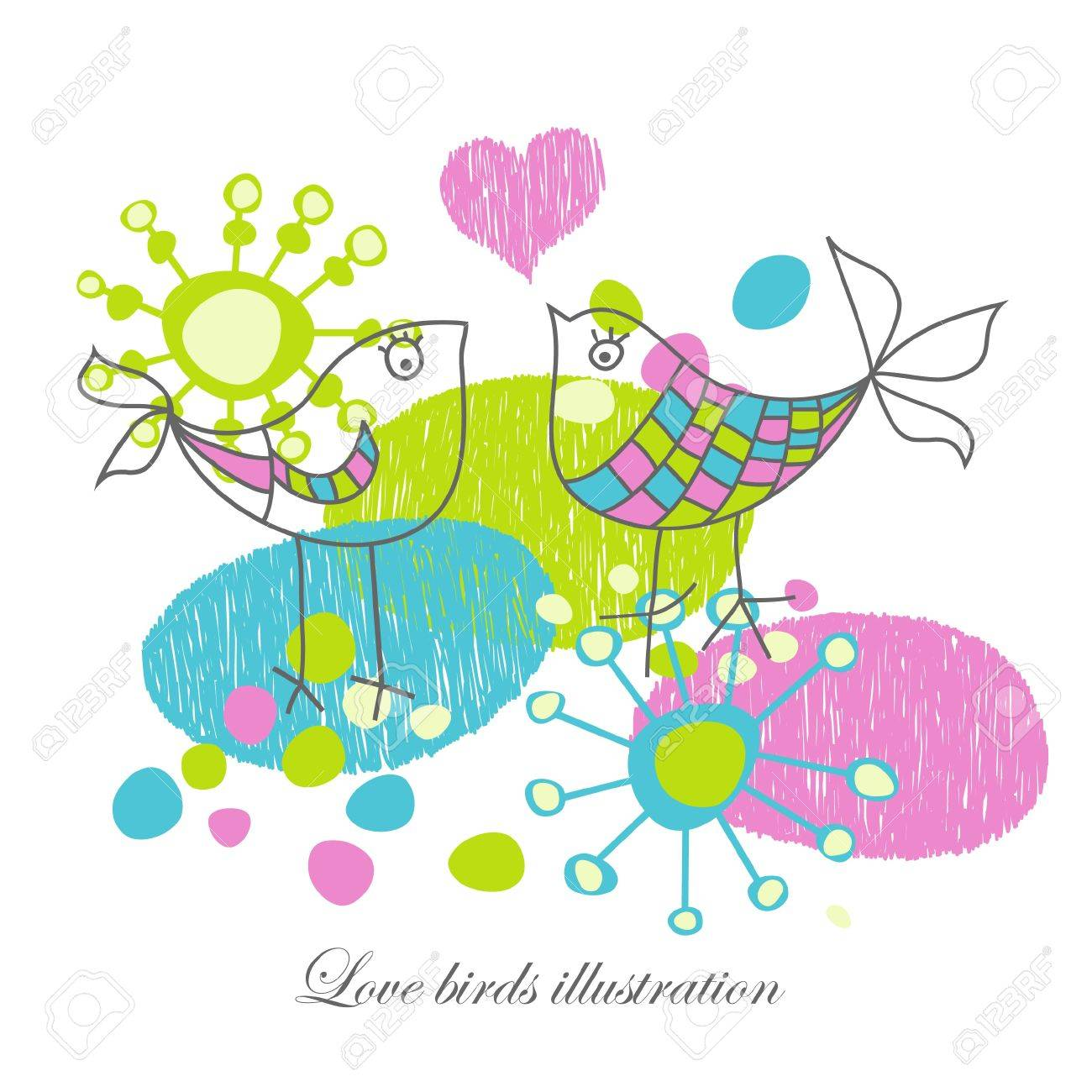 Love birds illustration Stock Vector - 9533774