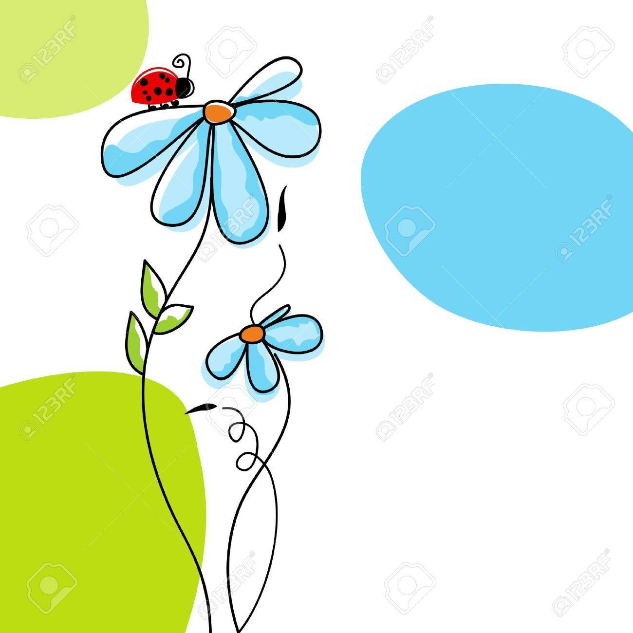 Cute nature scene: ladybug climbing on a flower Stock Vector - 9533723