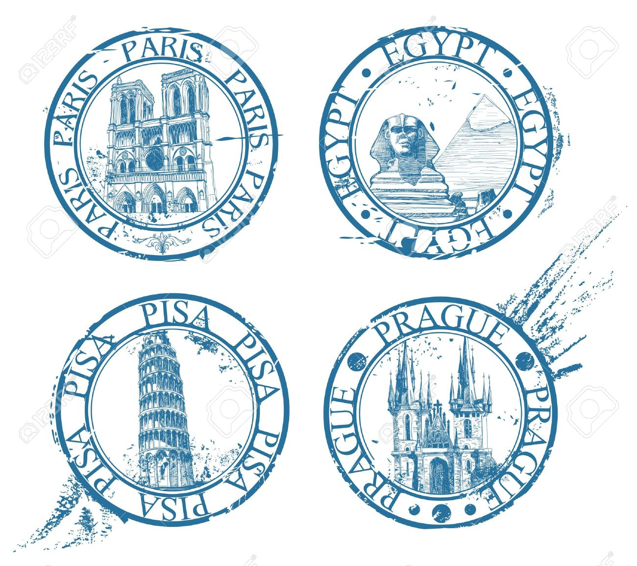 Ink travel stamps collection: Pisa, Paris, Prague, Egypt Stock Vector - 9629245