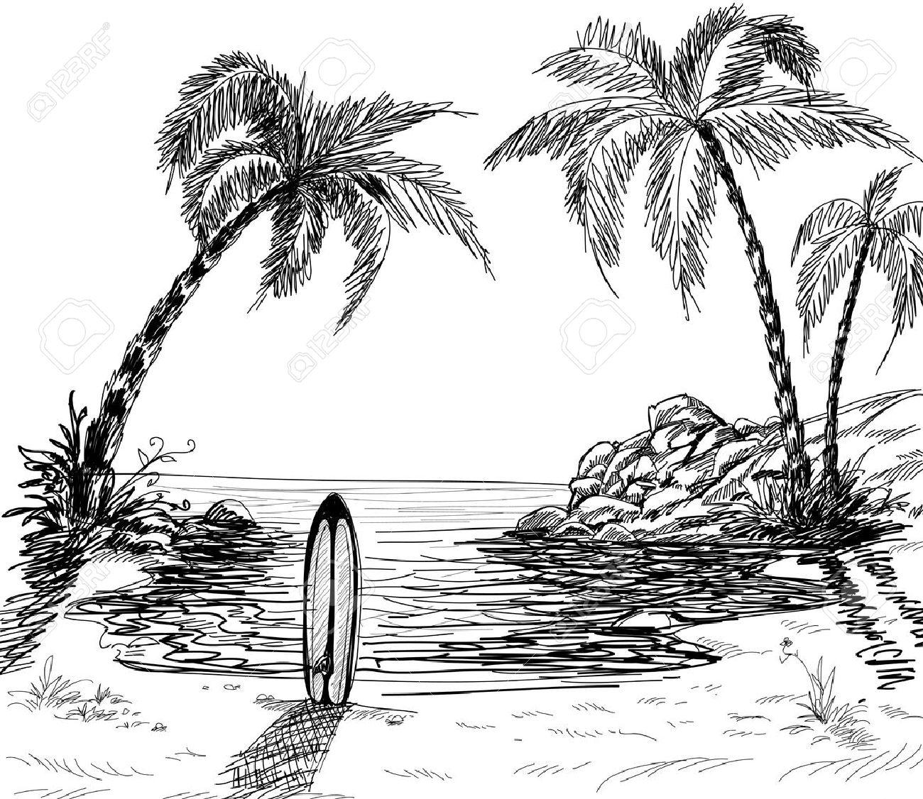 banque dimages paysage marin dessin avec palmiers et planche de surf dans le sable