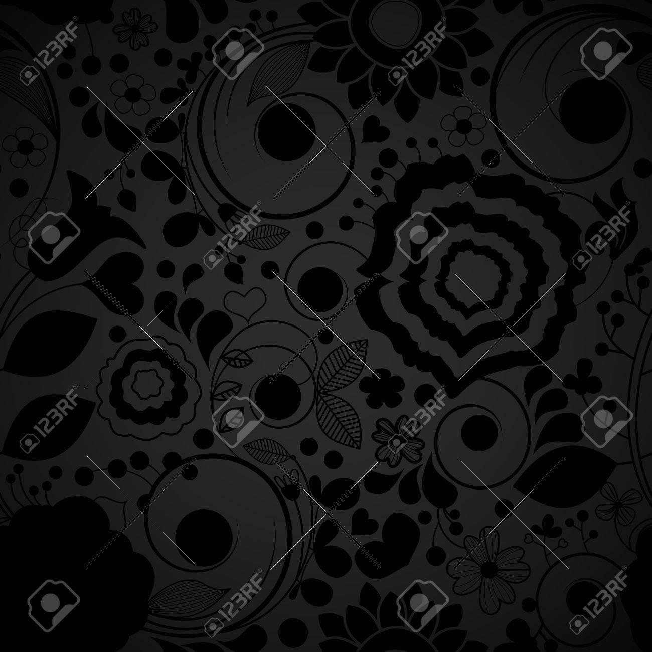 Elegant black seamless floral pattern Stock Vector - 9720679