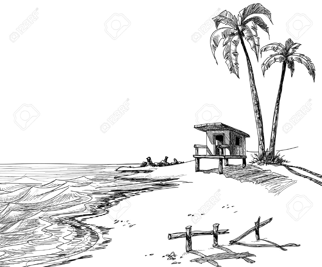 Lifeguard chair cartoon - Lifeguard Summer Beach Sketch With Palm Trees And Lifeguard Stand
