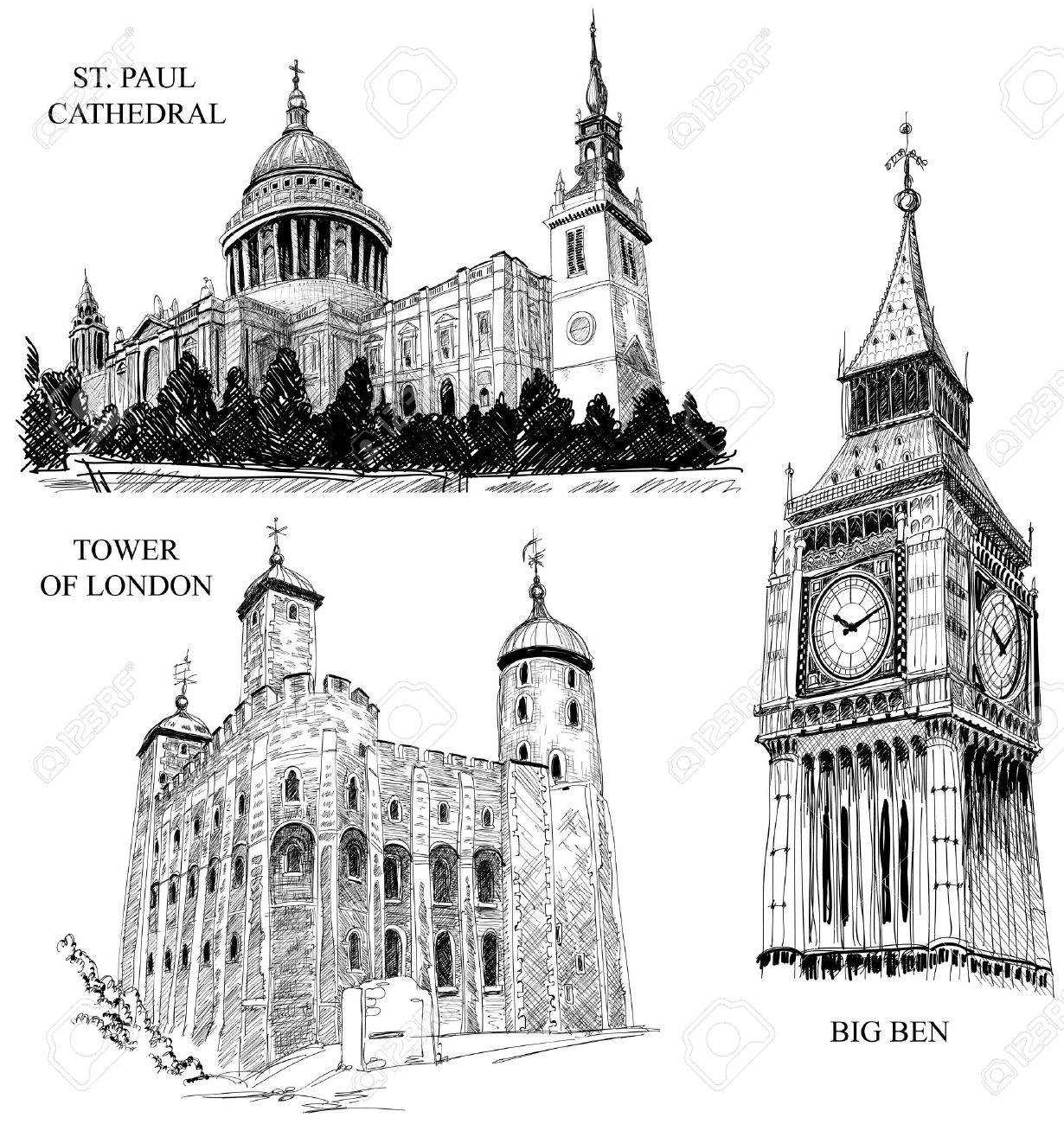 London architectural symbols: St. Paul Cathedral, Big Ben, Tower of London Stock Vector - 9884559