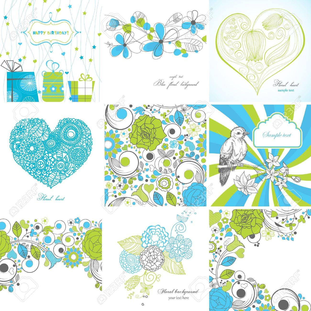 Set of greeting cards Stock Vector - 9884581