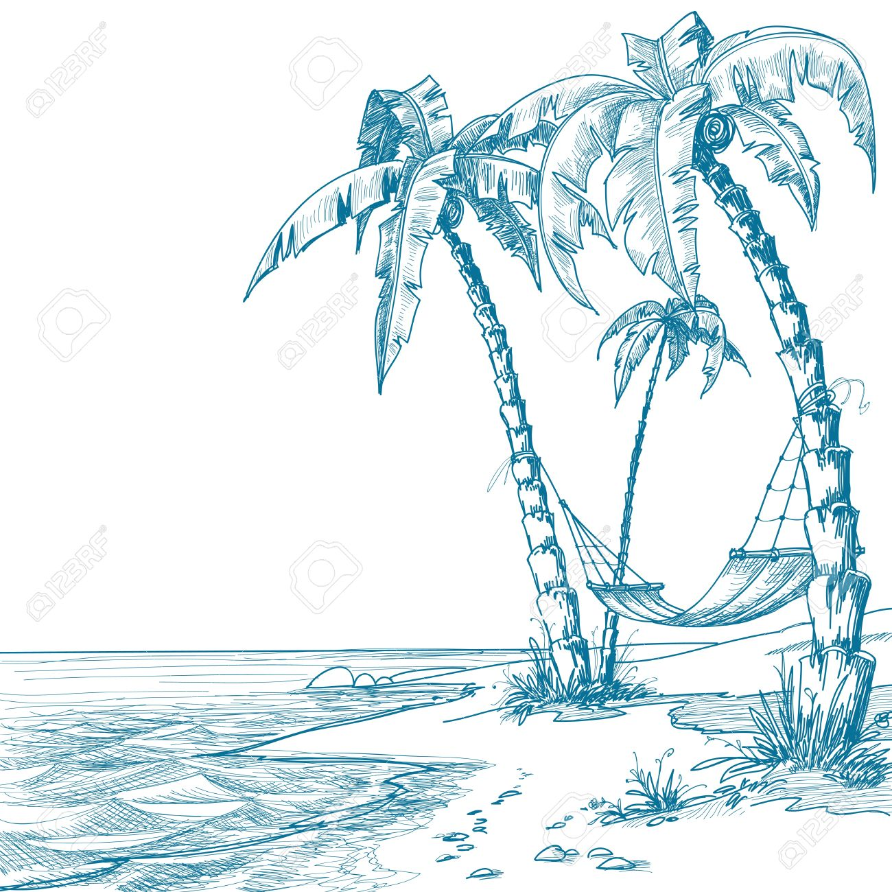 Tropical beach with palm trees and hammock Stock Vector - 10171236