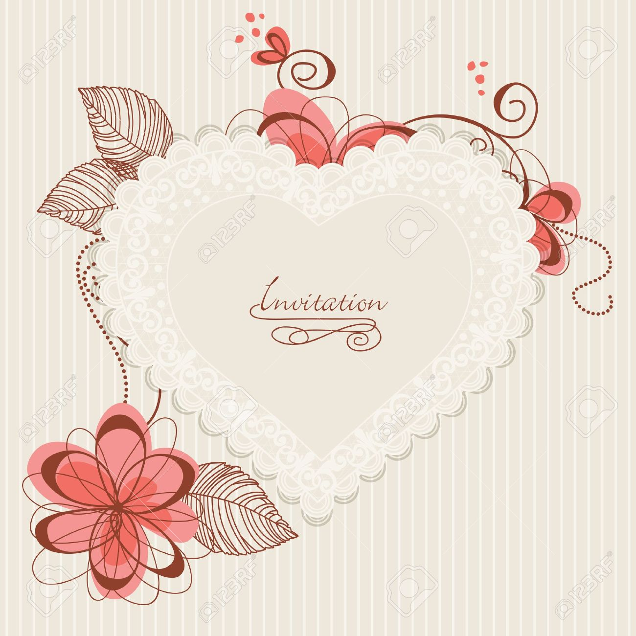 Lace floral heart. Design for romantic invitations or announcements Stock Vector - 10206950