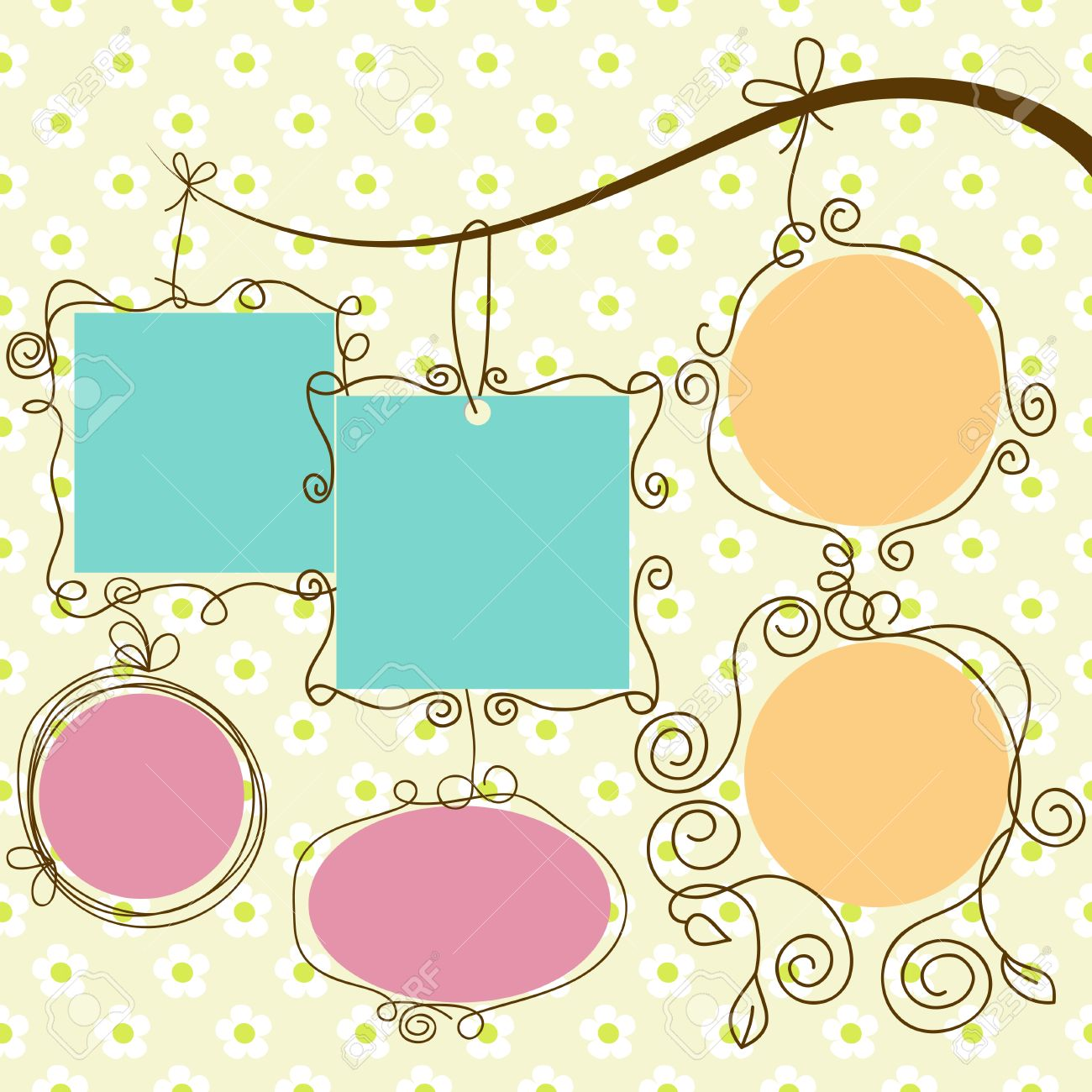Cute Frames Hanging, Retro Style Royalty Free Cliparts, Vectors, And ...