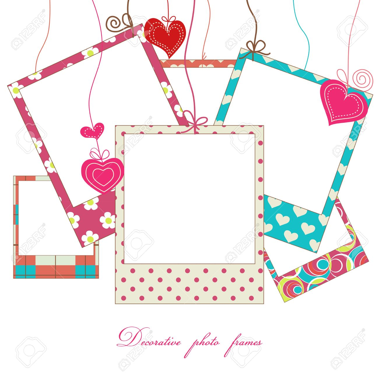 Hanging cute photo frames Stock Vector - 10289885