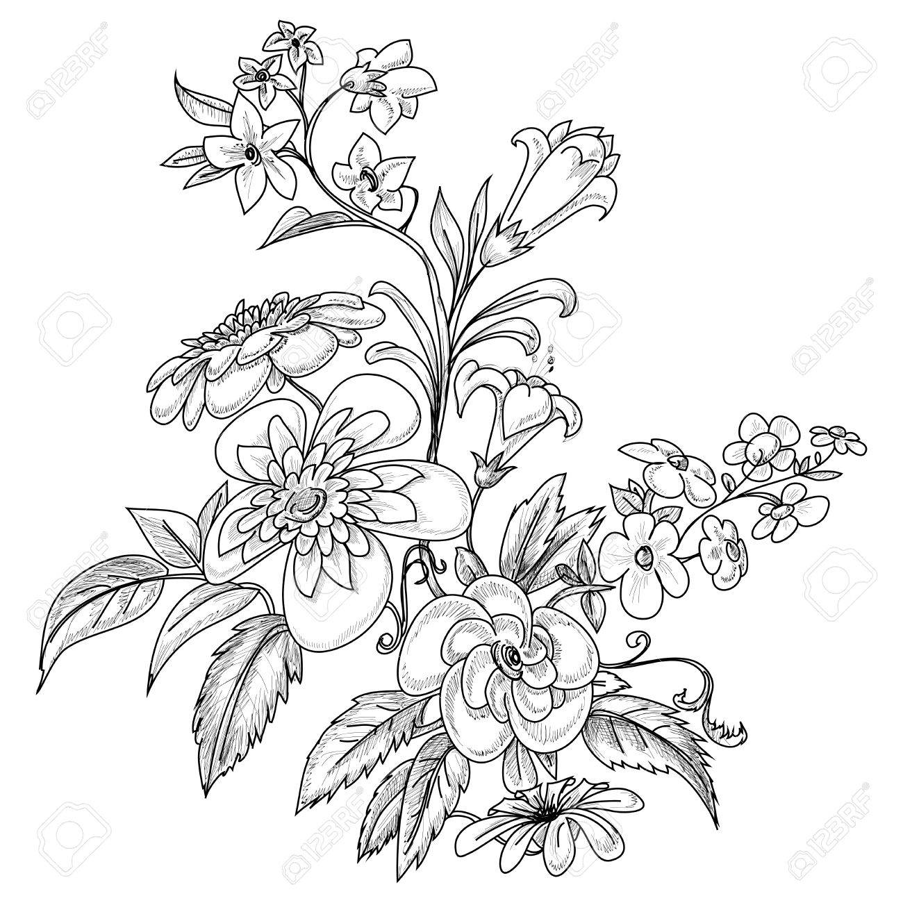 Graphic ornate flowers Stock Vector - 10394002