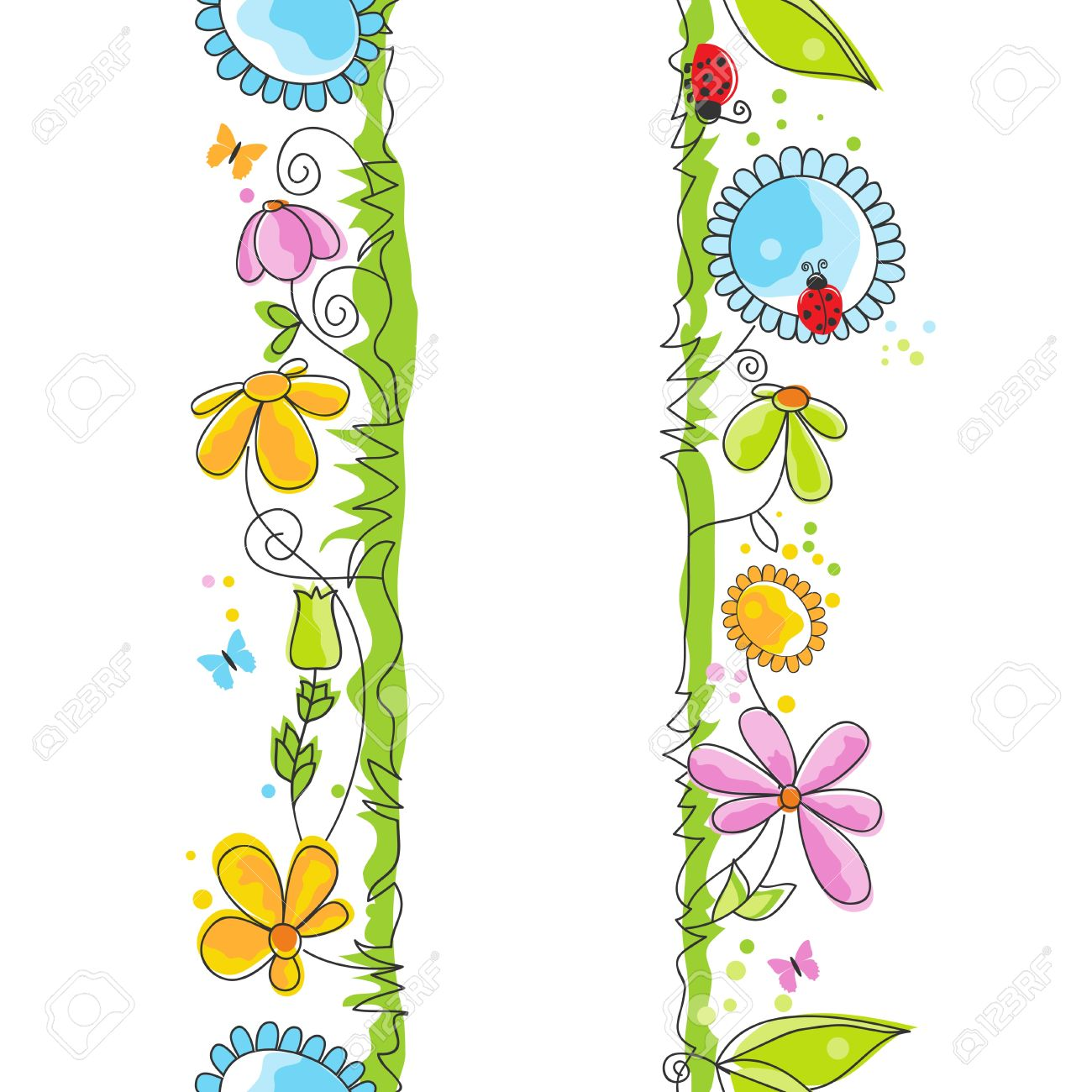 Cute Floral Borders Stock Vector