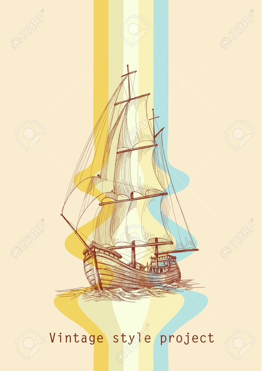 Vintage design waves and sailing boat Stock Vector - 10565974