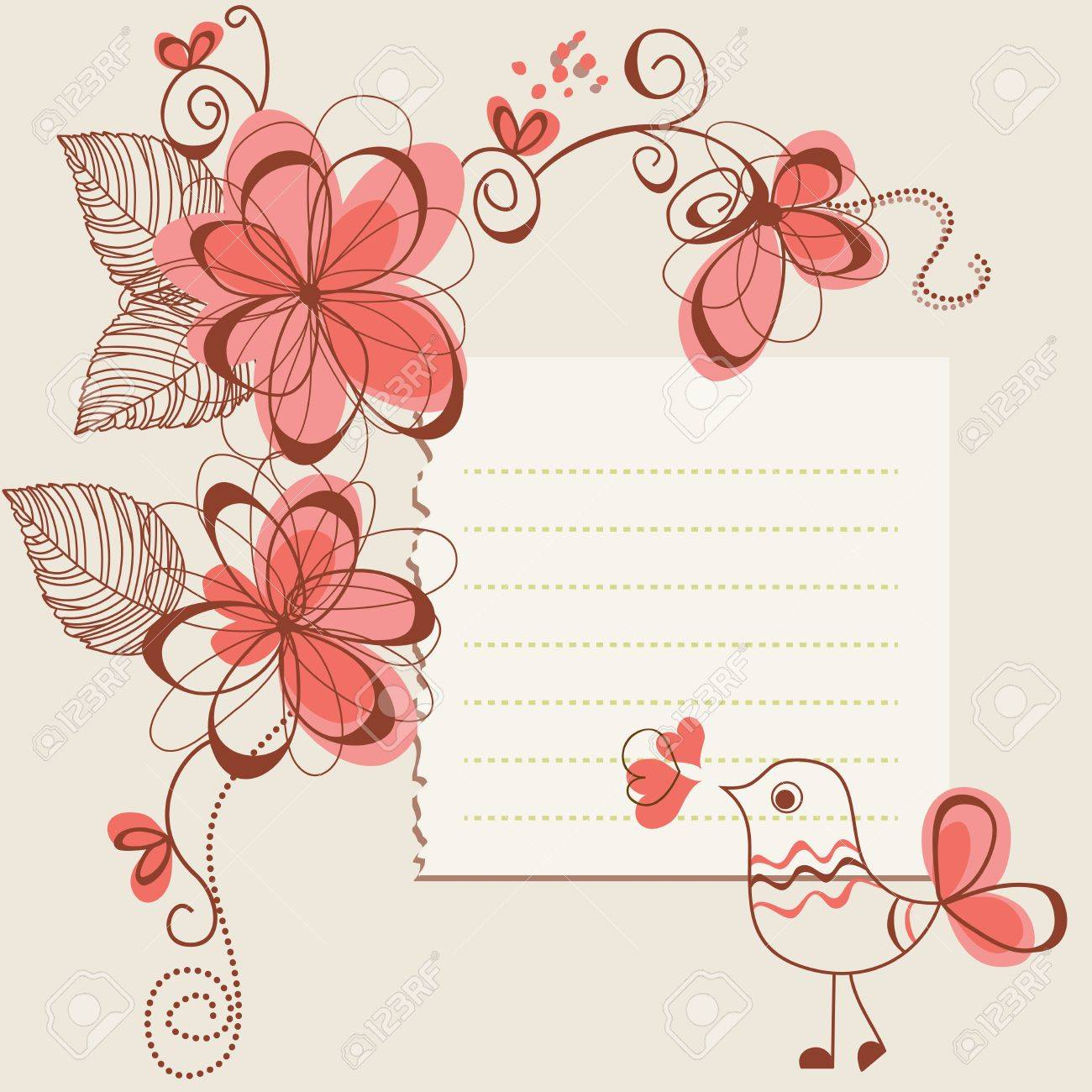 Flowers and bird romantic card Stock Vector - 10774960