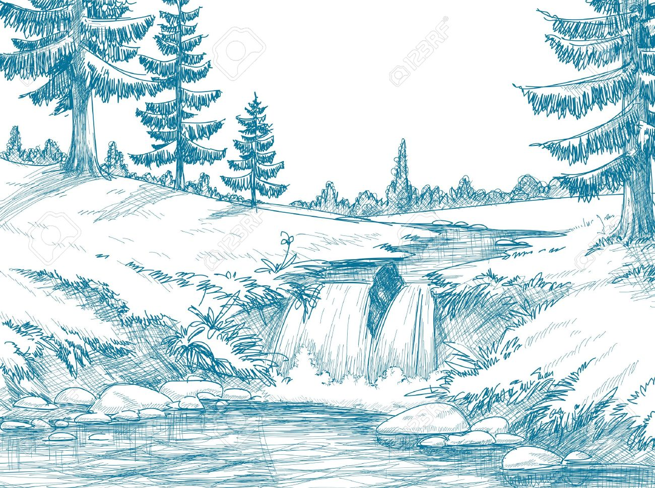 Mountain river pencil drawing stock vector 10774967
