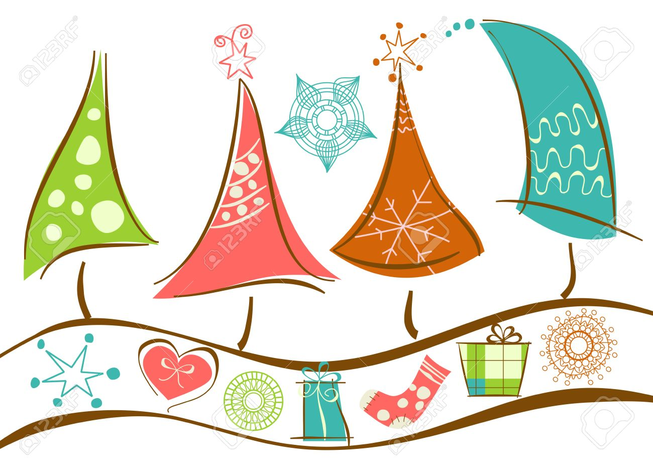 Christmas tree line and decorations Stock Vector - 10774956