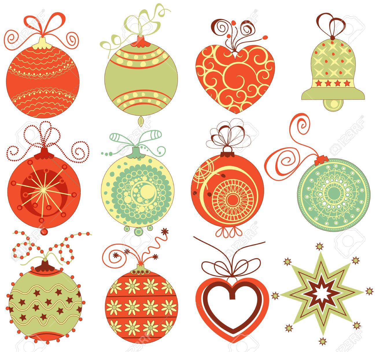 Retro Christmas Ornaments Set In Traditional Colors Stock Vector