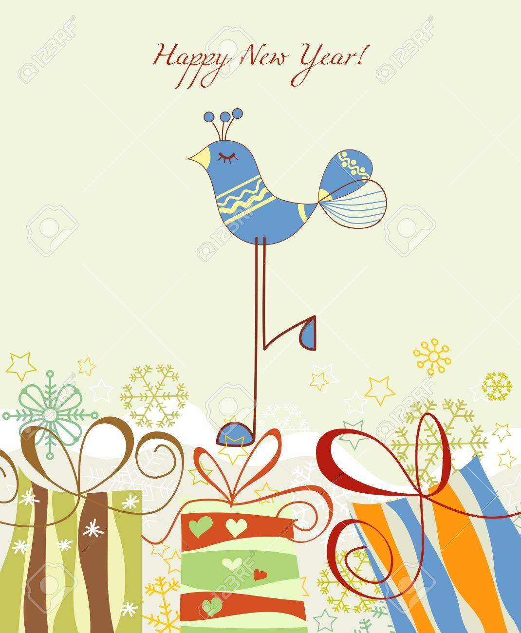 new year card gift boxes and cute blue bird stock vector 10996408