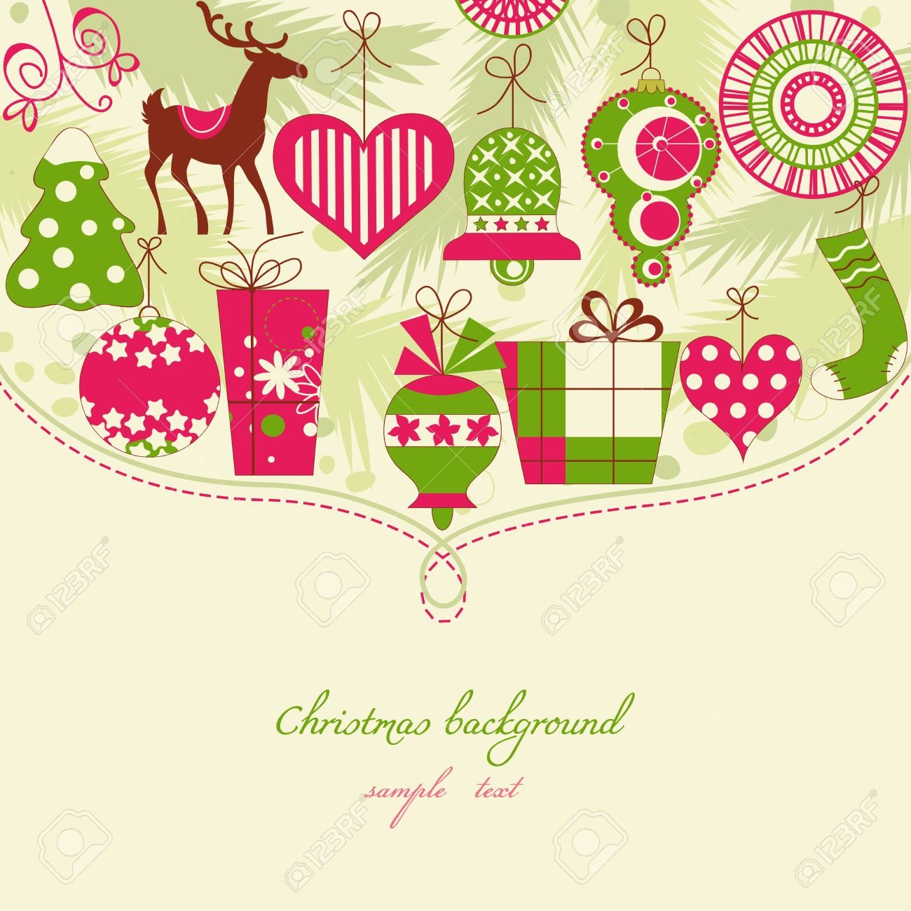 Christmas background in red and green icons Stock Vector - 11377005
