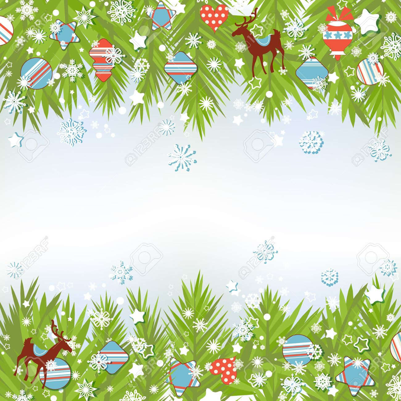 Christmas background, fir tree and decorations vector illustration Stock Vector - 11377066