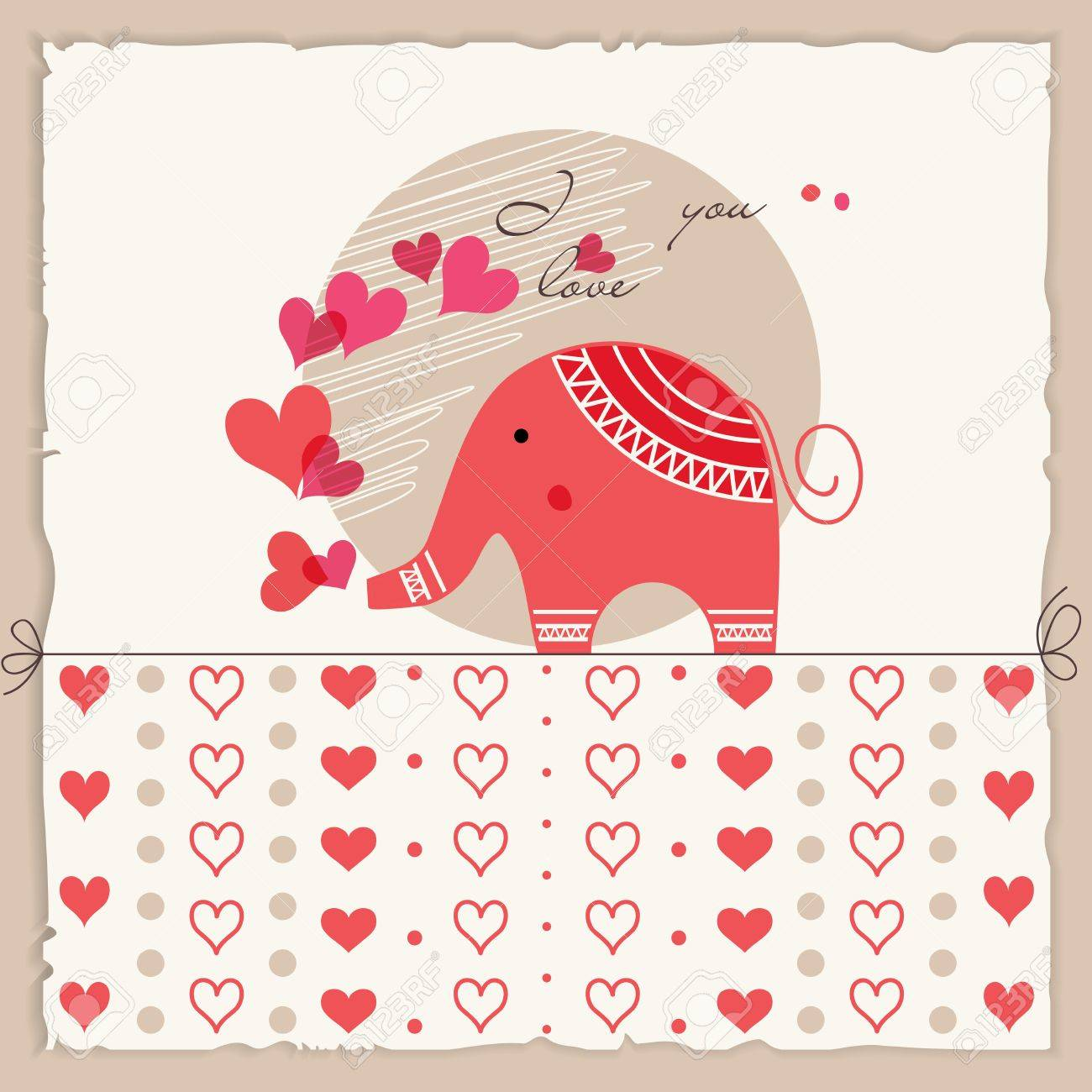 Valentines Day Card Cute Elephant Inlove Royalty Free Cliparts – Elephant Valentines Card