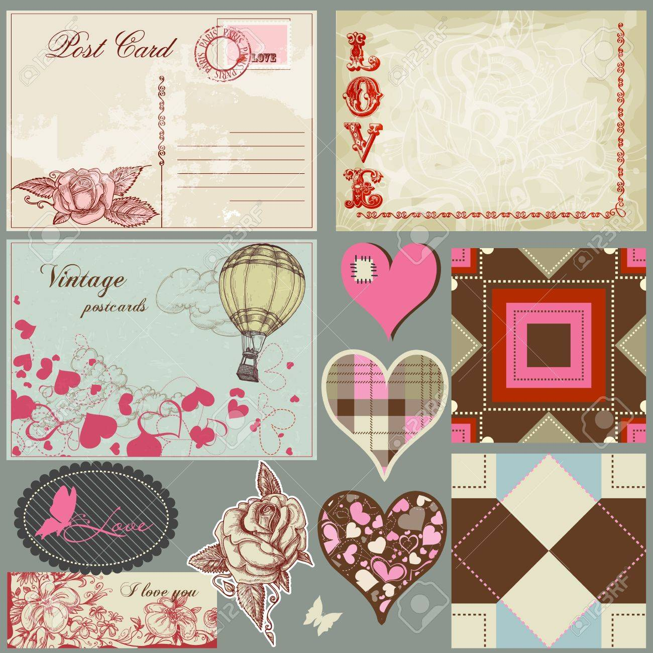 Vintage love set, postcards, hearts, roses, labels and seamless patterns Stock Vector - 11663188