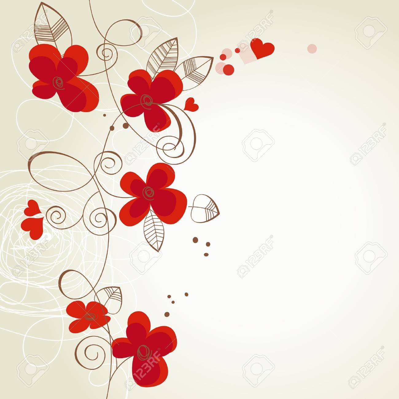 Red Flowers Vector Ornament Royalty Free Cliparts Vectors And