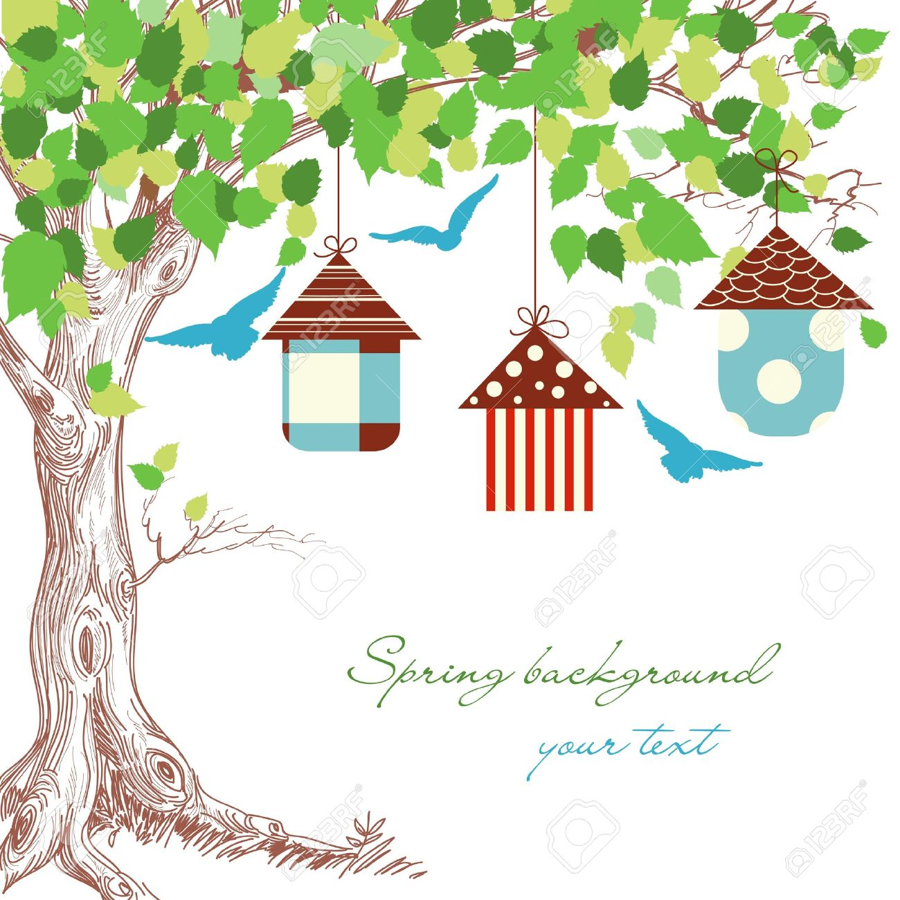 Spring tree, birdcages and blue birds background Stock Vector - 12144240