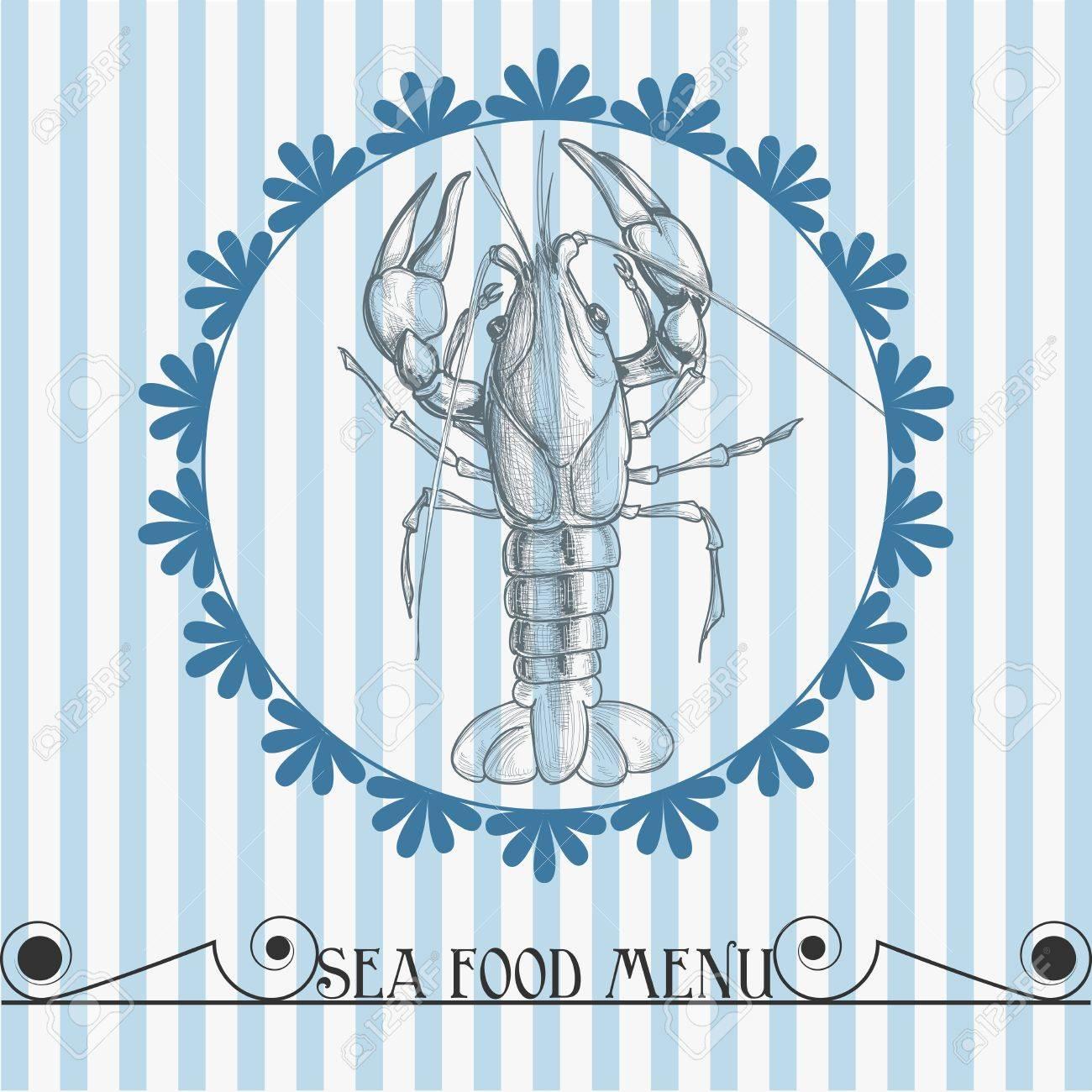 Sea food vector menu lobster drawing Stock Vector - 12144247