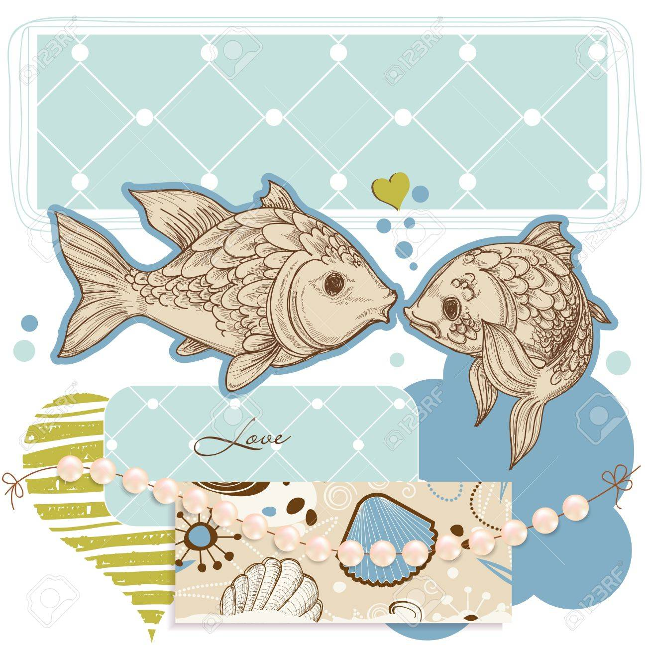 Sea background, fish and pearls Stock Vector - 12440427