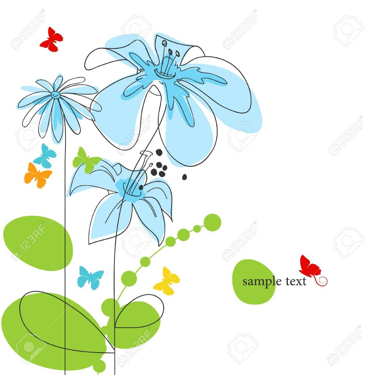 Floral background with butterflies Stock Vector - 12440428
