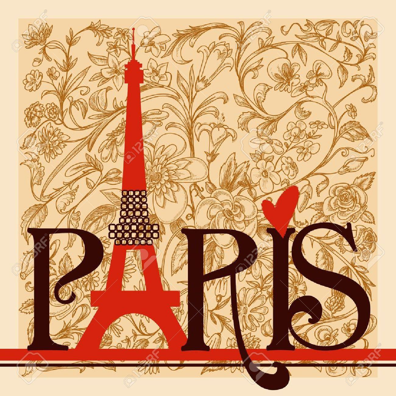 Paris lettering over vintage floral background Stock Vector - 12763568